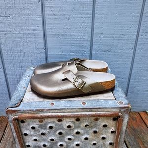 Birkenstock Boston Antique Gold Clogs Shoes 38/8